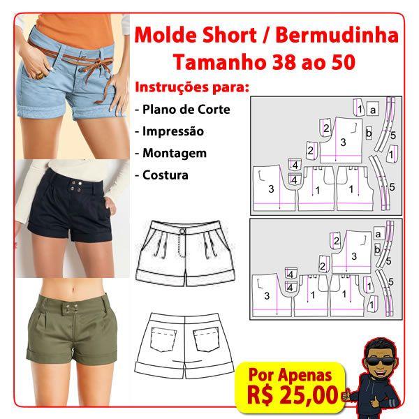 Imagem principal do produto Molde PDF Short / Bermuda Feminina tamanho do 38 ao 50 ( O mais completo)