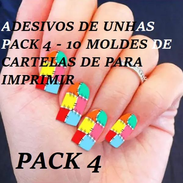 Imagem principal do produto ADESIVOS DE UNHAS PACK 4 - 10 MOLDES DE CARTELAS DE PARA IMPRIMIR