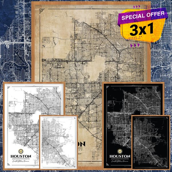 Imagem principal do produto Houston City Map Poster 3X1    I love Houston