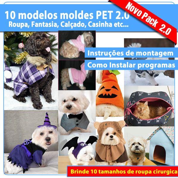Imagem principal do produto Novo Pack 2.0 10 Modelos moldes para Pets em PDF (Roupinha, Fantasia, Calcinha, Boné, Casinha, etc..)+ Brinde