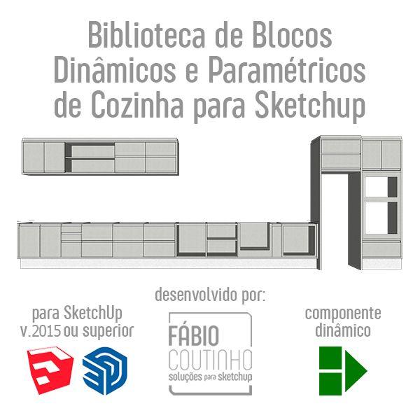 Imagem principal do produto Biblioteca de Blocos Dinâmicos e Paramétricos de Cozinha para SketchUp