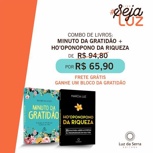 Imagem principal do produto Combo de Livros: Minuto da Gratidão + Ho'oponopono da Riqueza + Frete Grátis (Brasil)
