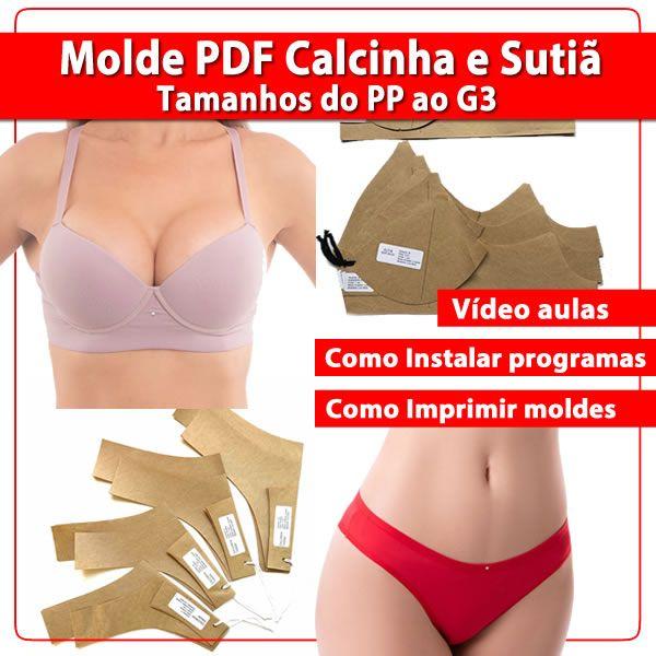 Imagem principal do produto Molde PDF Calcinha e Sutiã do PP ao G3