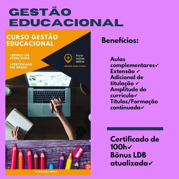 Imagem principal do produto CURSO GESTÃO EDUCACIONAL 100 HORAS + BONUS LDB ATUALIZADA!