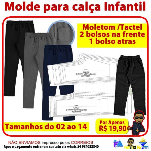 Imagem principal do produto Molde calça infantil do tam. 02 ao 14 acompanha vídeo aula de como imprimir os moldes