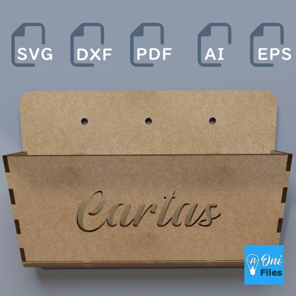 Imagem principal do produto 2 Projetos Guarda Cartas Vetorizado com escrita em corte e gravação. Em MDF ou Compensado 3mm para CNC, corte à laser, router ou plasma. Arquivos DXF SVG PDF EPS AI