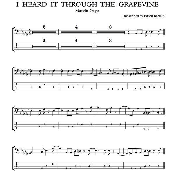 Imagem principal do produto I HEARD IT THROUGH THE GRAPEVINE (Marvin Gaye) Bass Score & Tab Lesson