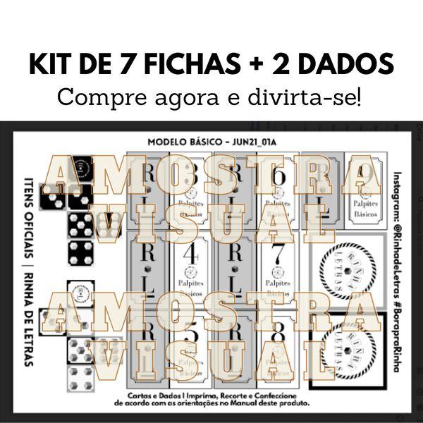 Imagem principal do produto Fichas e Dados do Jogo de Palavras Rinha de Letras   Versão Básica