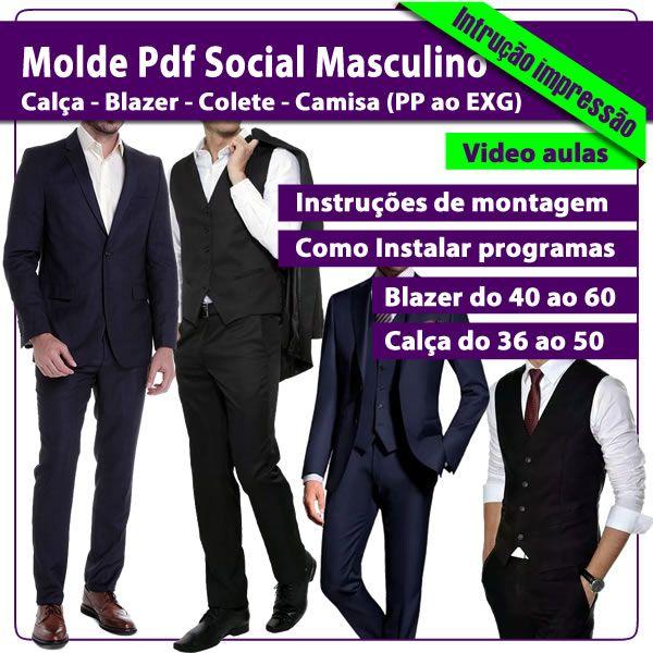 Imagem principal do produto Kit Molde Pdf Social Masculino PP ao EXG