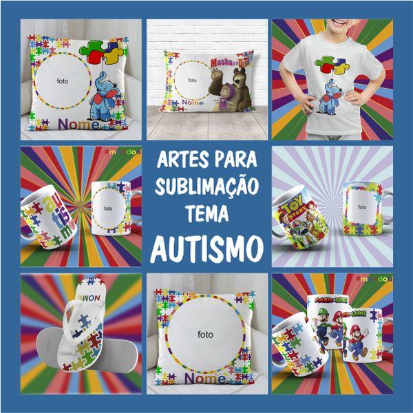 Imagem principal do produto ARTES PARA SUBLIMAÇÃO AUTISMO + GABARITOS + MANUAL DE SUBLIMAÇÃO