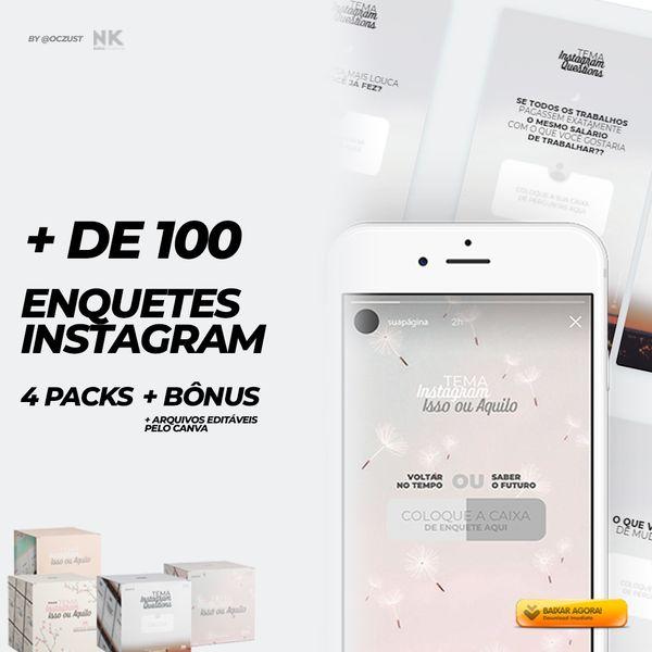 Imagem principal do produto + DE 100 ENQUETES  PRONTAS PARA INSTAGRAM STORYS + ARQUIVOS EDITÁVEIS  + BÔNUS