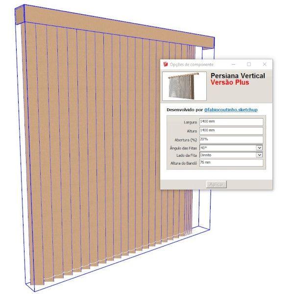 Imagem principal do produto Bloco Dinâmico de Persiana Vertical para SketchUp
