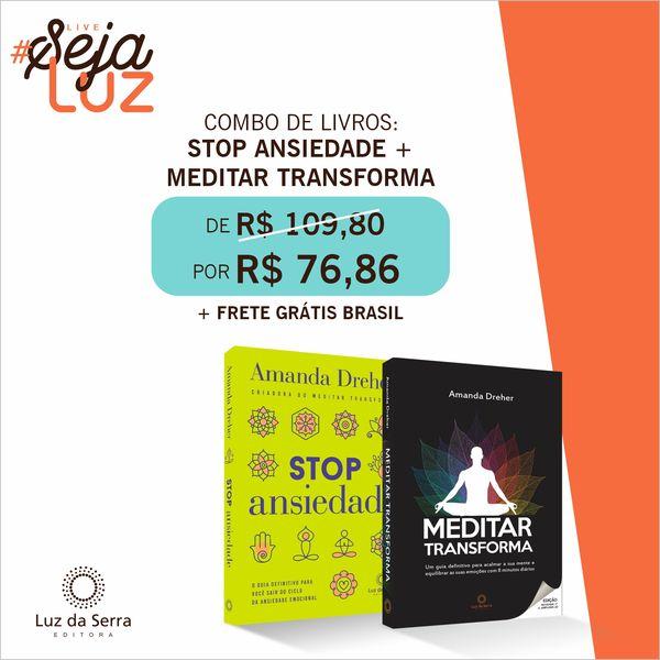 Imagem principal do produto Combo de Livros: Stop Ansieade + Meditar Transforma COM FRETE GRÁTIS (Brasil)