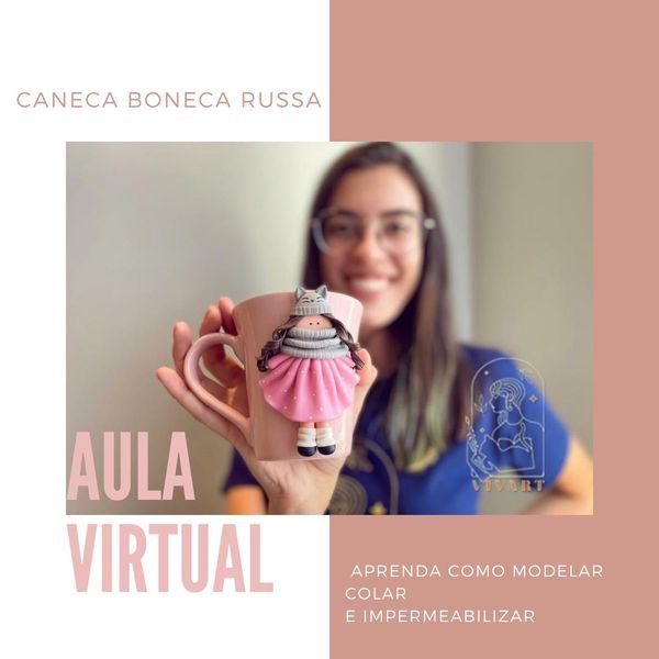 Imagem principal do produto Aula virtual caneca de biscuit - Boneca Russa