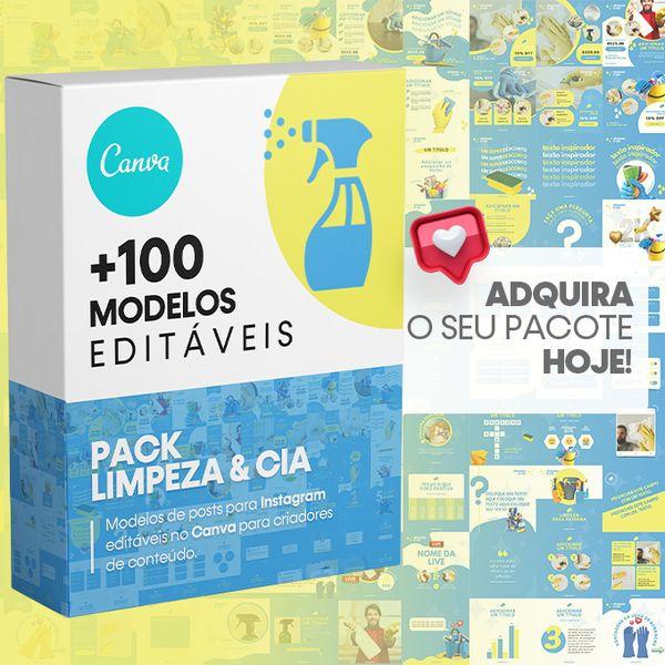 Imagem principal do produto Canva +100 Templates Limpeza & Cia Para Instagram