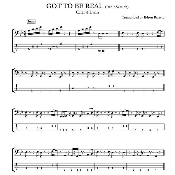 Imagem principal do produto GOT TO BE REAL (Cheryl Lynn) Bass Score & Tab Lesson