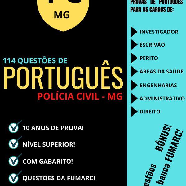 Imagem principal do produto 114 Questões de Português (FUMARC) - Polícia Civil - MG