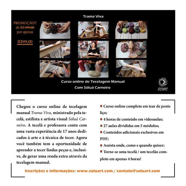 Imagem principal do produto Curso online de Tecelagem Manual Trama Viva, com Sóluá Carneiro