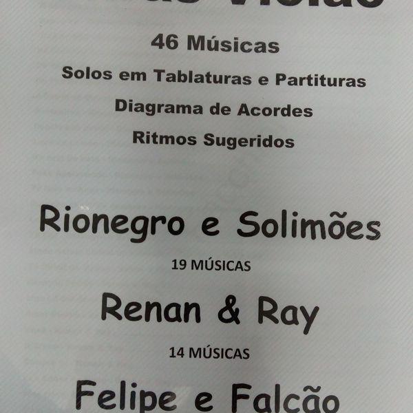 Imagem principal do produto Apostila de Cifras para Violão Rionegro e Solimões, Renan Ray, Felipe Falcão