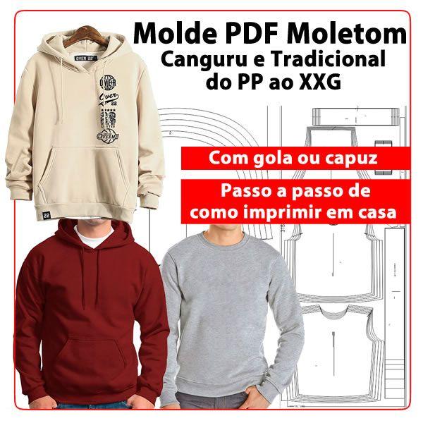 Imagem principal do produto Molde PDF moletom Canguru e tradicional com gola ou capuz PP ao EXG