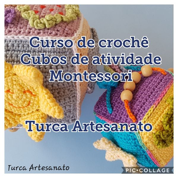 Imagem principal do produto Cubo de atividades brinquedo montessori amigurumi de crochê curso