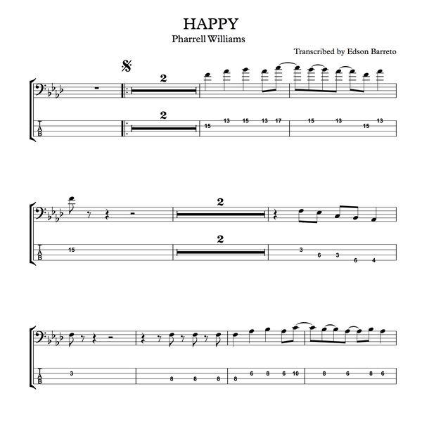 Imagem principal do produto HAPPY (Pharrell Williams) Bass Score & Tab Lesson
