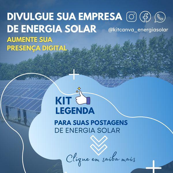 Imagem principal do produto Legendas para POSTAGENS de ENERGIA SOLAR