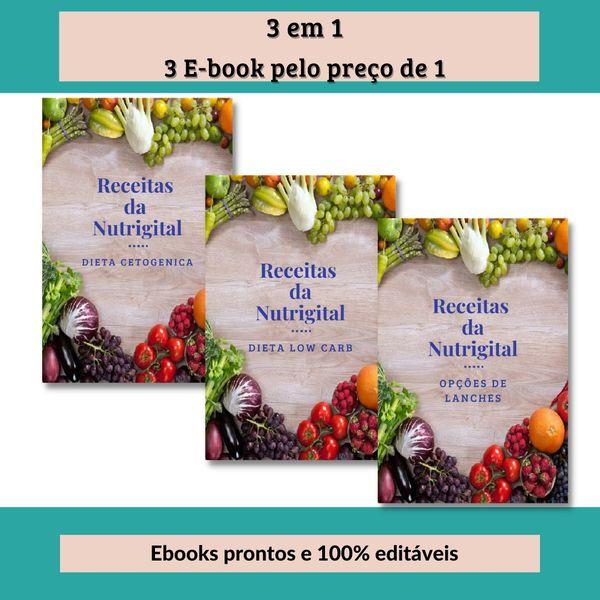 Imagem principal do produto Ebook 3 em 1 - Receitas cetogênica, Receitas lowcarb e receitas de lanches rápidos