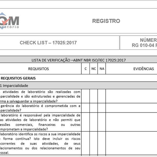 Imagem principal do produto Check list 17025:2017 (lista de verificação)