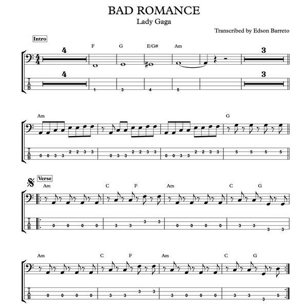 Imagem principal do produto BAD ROMANCE (Lady Gaga) Bass Transcription, Score & Tab Lesson