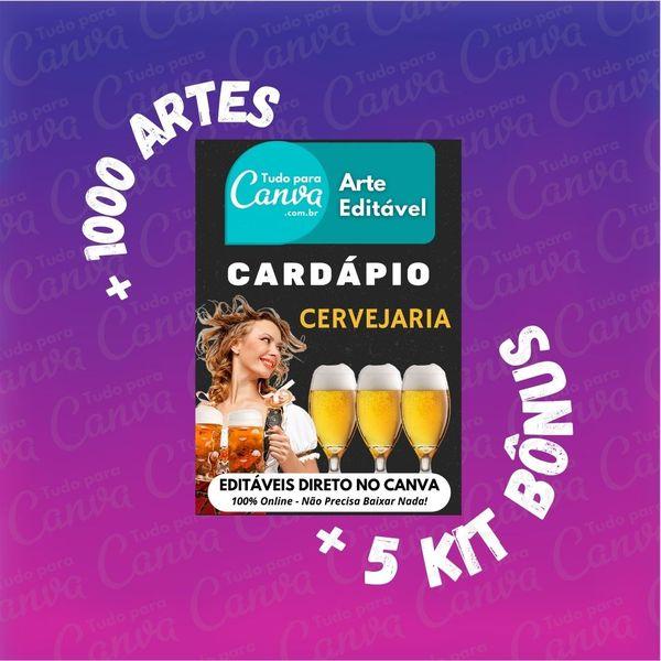 Imagem principal do produto Cardápio Cervejaria - Arte Para Canva +1000Artes+5KitsBônus