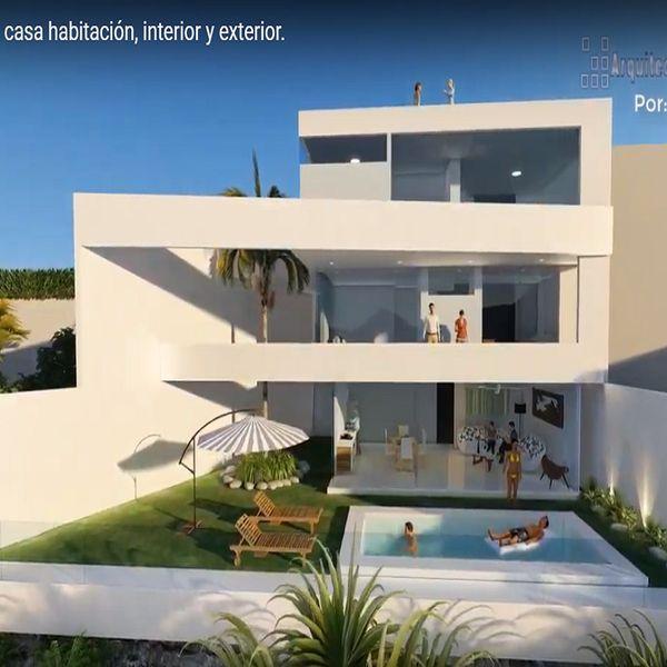 Planos de casa moderna 3 rec maras para terreno 12x20 m for Casa moderna 140 m2