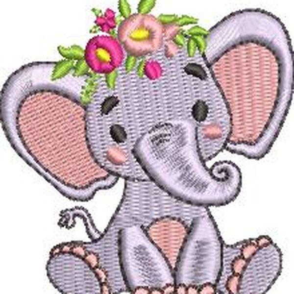 Imagem principal do produto Diseño de bordado Elefante Bebe para maquinas bordadoras.