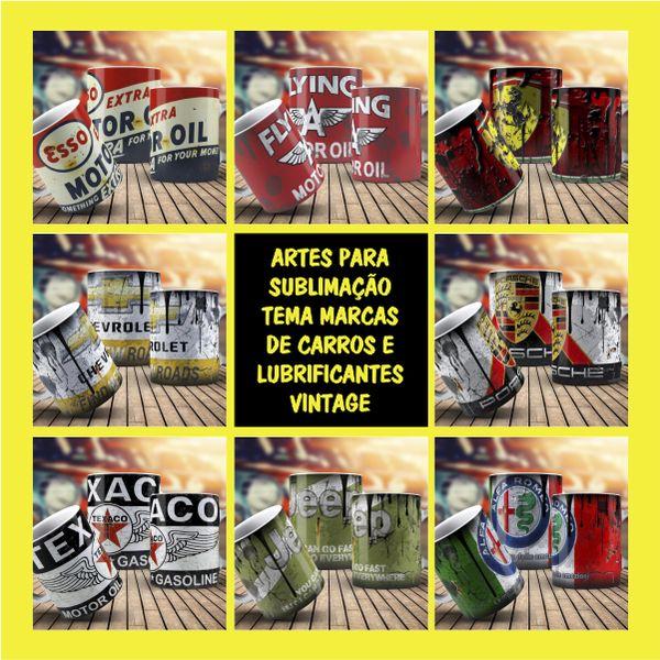 Imagem principal do produto ARTES PARA CANECAS TEMA MARCAS DE CARROS, MOTOS, CAMINHÕES E LUBRIFICANTES VINTAGE + MANUAL DE SUBLIMAÇÃO + GABARITO DE IMPRESSÃO DE CANECAS PORCELANA E POLÍMERO + BRINDE: PACK DE ARTES HARD ROCK.