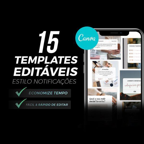 Imagem principal do produto 15 Templates de Posts Estilo Notificação/Lembrete - Editável no Canva