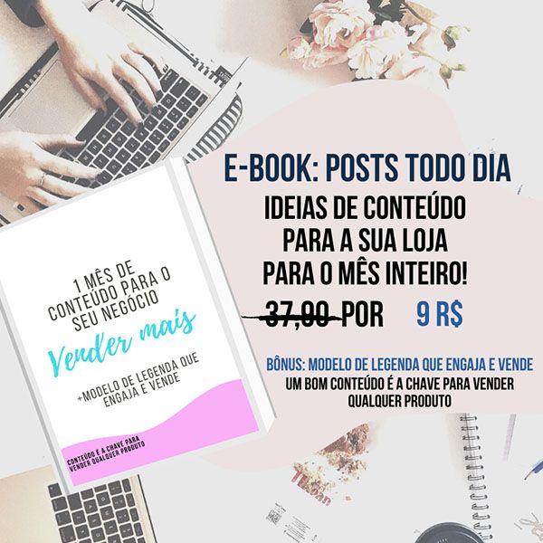 Imagem principal do produto E-book 30 dias de conteúdo que vende para lojas no instagram