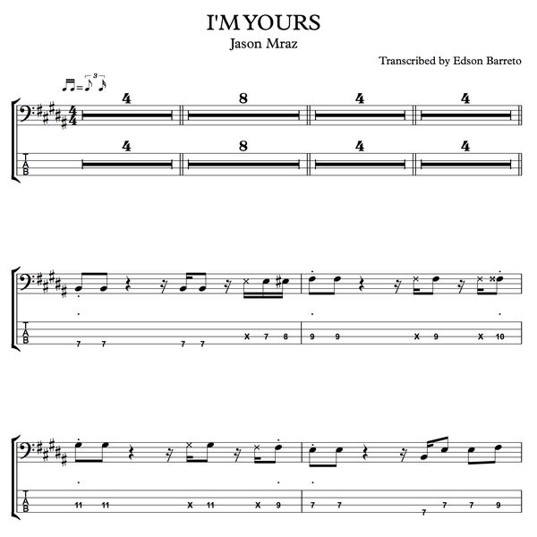 Imagem principal do produto I'M YOURS (Jason Mraz) Bass Score & Tab Lesson