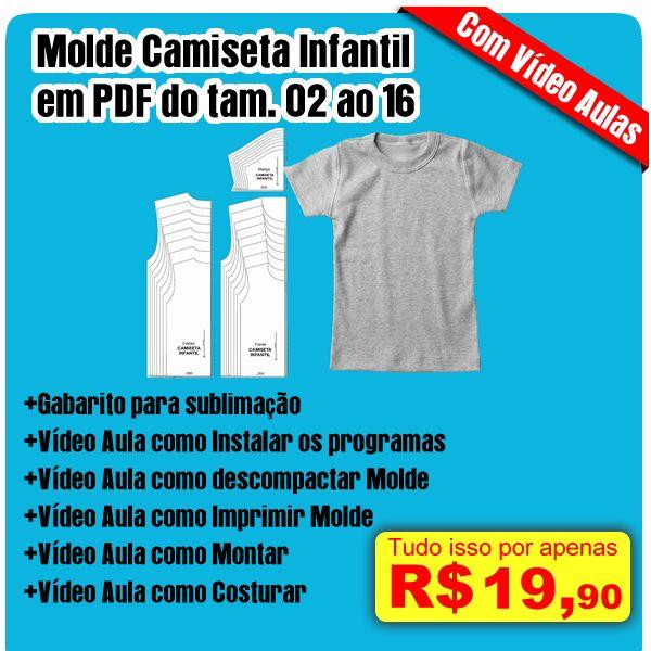 Imagem principal do produto Molde camiseta infantil tam. 02 ao 16 + vídeo aulas com o passo a passo da impressão a costura