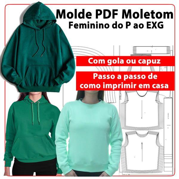 Imagem principal do produto Molde PDF moletom feminino com gola ou capuz do P ao EXG