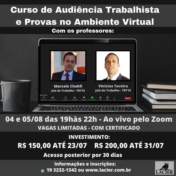 Imagem principal do produto CURSO DE AUDIÊNCIA TRABALHISTA E PROVAS NO AMBIENTE VIRTUAL
