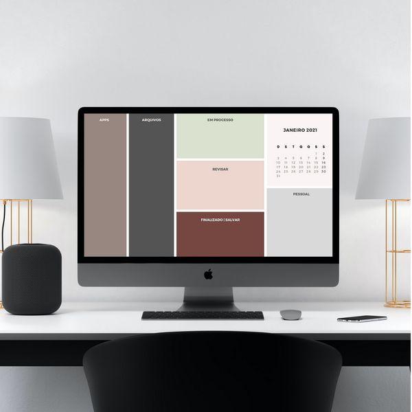 Imagem principal do produto  💻 Papel de Parede Organizador Desktop   Neutro