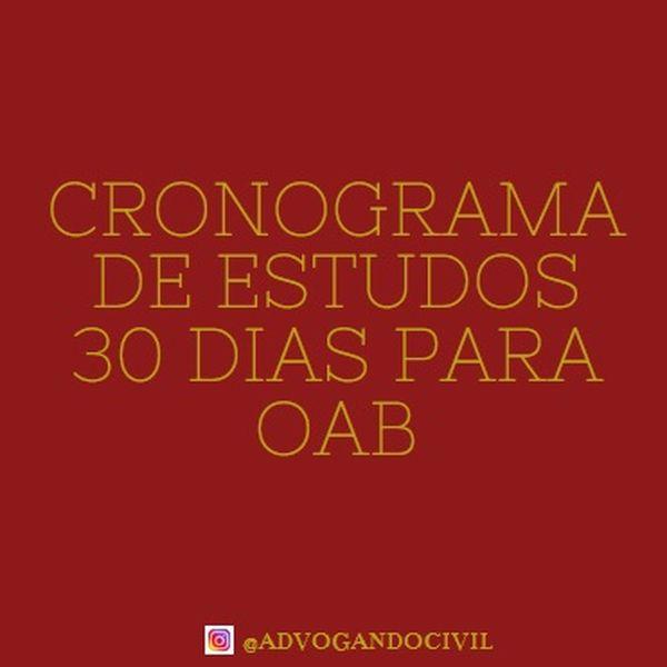 Imagem principal do produto Cronograma de Estudos 30 Dias OAB - @advogandocivil por Gabriela Persinoti