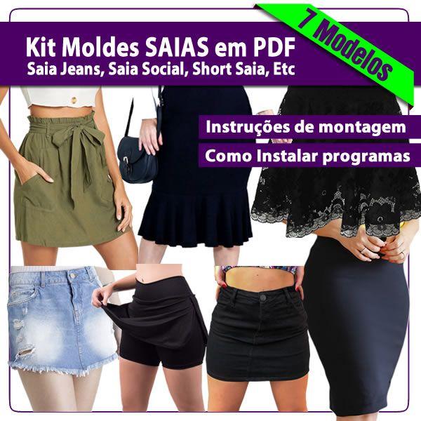 Imagem principal do produto Kit com 7 Modelos moldes de Saias em PDF