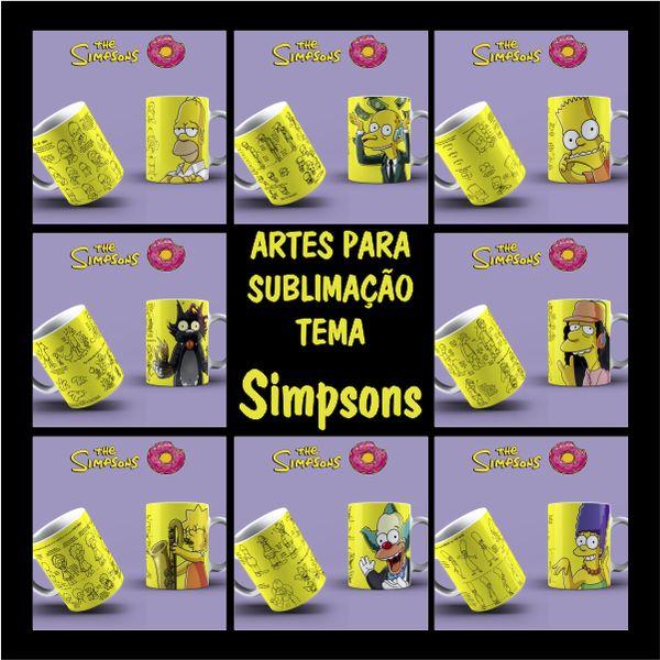 Imagem principal do produto ARTES PARA CANECAS TEMA SIMPSONS + Gabaritos de impressão em canecas de porcelana e polímero + Manual de sublimação + Brinde: Pack de artes Hard Rock
