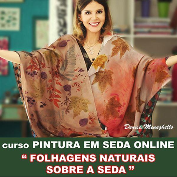 """Imagem principal do produto Curso de Pintura em Seda Online """"Folhagens sobre a Seda"""""""