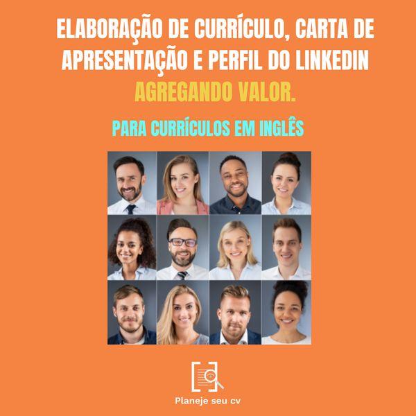 Imagem principal do produto Elaboração de Currículos, Carta de Apresentação e Perfil de Linkedin - Para Currículos em Inglês