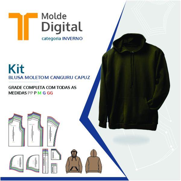 Imagem principal do produto kit molde Digital Blusa Moletom Canguru Capuz