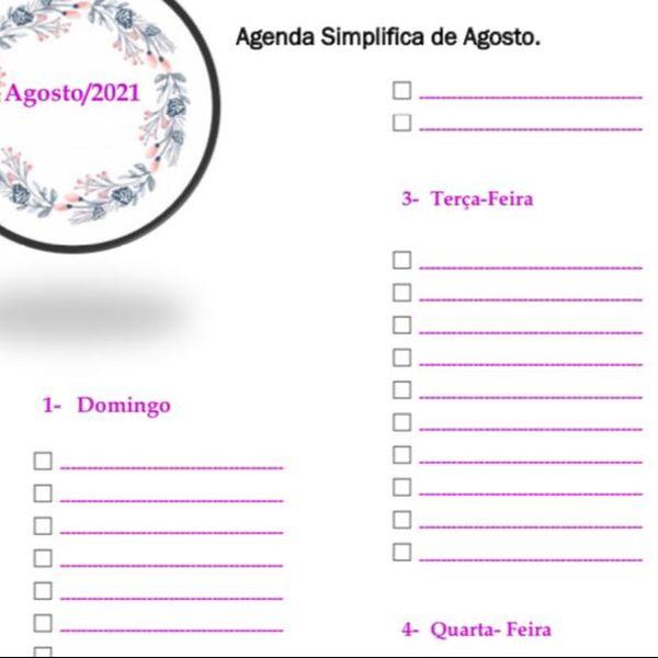 Imagem principal do produto Agenda Simplificada do Mês de Agosto de 2021