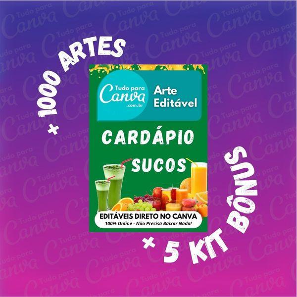 Imagem principal do produto Cardápio Sucos - Arte Para Canva +1000Artes+5KitsBônus