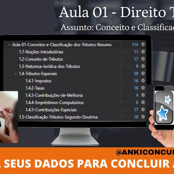 Imagem principal do produto Aula 01 – Direito Tributário (145 Flashcards Anki)